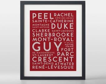 Montreal City Streets Typography Art Print