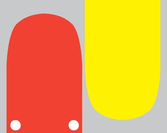 Red lorry, yellow lolly (400mm x 400mm giclee print)
