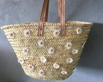 Bag / floral straw Beach basket