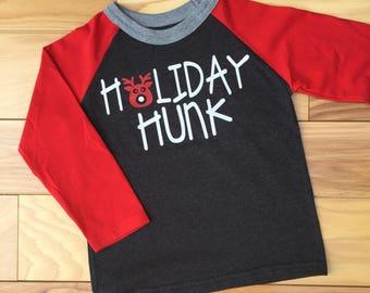 Toddler Boy Christmas Shirt, Boy Christmas Shirt, Holiday Hunk Shirt, Cute Christmas Shirts, Reindeer Shirt, Christmas Shirt, Toddler Shirt