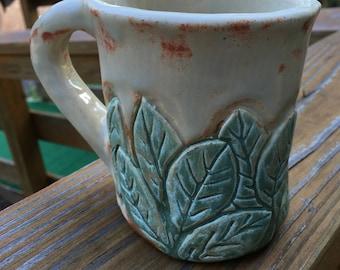 Cared Stoneware Clay Leaf Mug