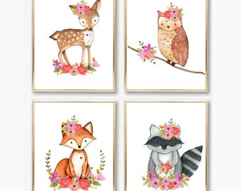 Girl Woodland Nursery Print Set. Girl Wall Art. Baby Girl. Floral Woodland Animals. Animal Wall Art. Nursery Printable. Fox Deer Owl Raccoon
