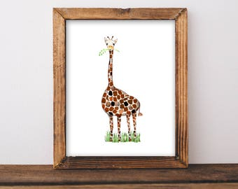 PRINTABLE - Watercolor Giraffe. Modern Safari Nursery. Safari Nursery Decor. Giraffe Nursery Art Printable. Printable Nursery Decor 8x10