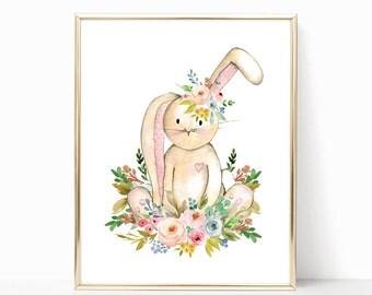 Bunny Nursery Art. Bunny Nursery Decor. Floral Bunny Nursery Art. Woodland Nursery Prints. Girl Woodland Nursery. Baby Girl. Nursery Prints.
