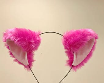 Cat ears Kitty Headwear Purple Pink Inside Furry Animal Headband Costume Bow Bells