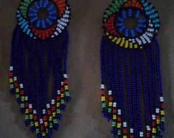 African Maasai Beaded Earrings | Royal Blue Zulu Beaded Earrings | Dangle Earrings | Tribal Earrings | Elegant Earrings | Gift For Her