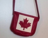 Custom Order for Patricia, Balance, Canada Flag Tote Bag in Leather, Red Leather, Flag Bag, Canadian, Maple Leaf, Crossbody