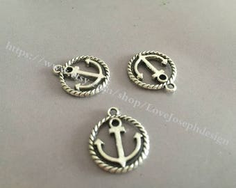 wholesale 100 Pieces /Lot Antique Silver Plated 15mmx28mm Anchor Charms (#007)