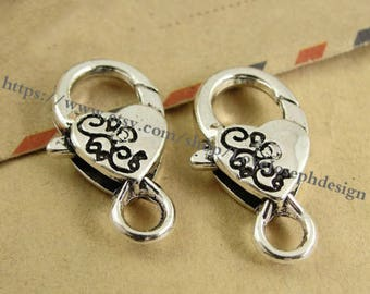 Set of 20 Pieces /Lot Antique Silver plated 15mmx27mm Lobster clasps (#0431)