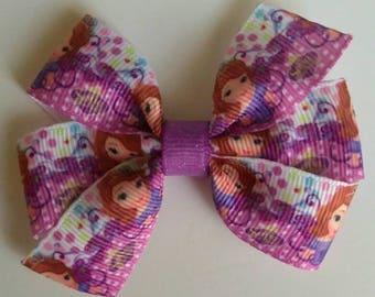 Princess sofia hair bow, back to school hair tie, character hair bow, purpl hair bow, ponytail bow, character hair bow