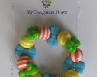 Kids bracelet - kids jewelry - baby bracelet - school bracelet - blue bracelet - bow bracelet - beaded bracelet - gumball bracelet