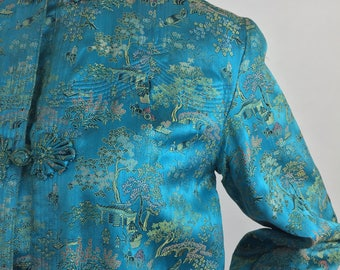 Vintage Cheongsam-Qipao Silk Jacket with Asian Inspired Print/Size Large