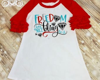 Freedom Has a Nice Bling Fourth of July Dress, 4th of July Outfit, Girls Icing Ruffle Raglan Dress, Monogram Dress