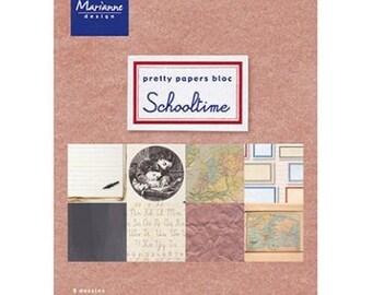 Block of 32 paper 15 x 21 cm MARIANNE DESIGN SCHOOLTIME