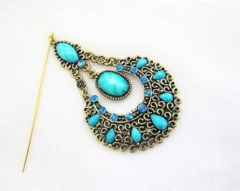 Turquoise Blue green and Antique Gold Hijab Scarf Hat Pin Brooch