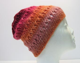 Oh, These Old Rags? Peach, Orange, Pink, Raspberry Criss-Cross Slouchy Womens Winter Hat (A4)