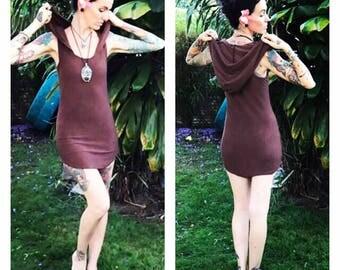 Made to order Bamboo hodded tank mini dress