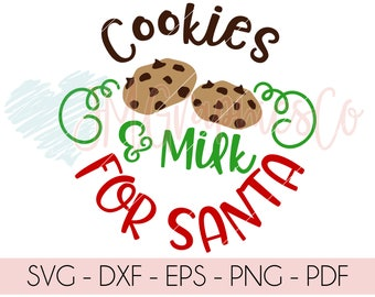 Cookies & Milk For Santa SVG, eps, dxf, png, cricut, cameo, scan N cut, cut file, Santa plate svg, santa svg, cookies svg, cookies for santa