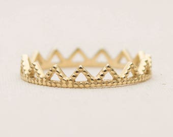Solid 14K Gold Crown Wedding Band Stacking Ring Stackable Lace Full Eternity AD1143