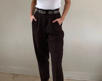 80s 100% Wool High Waisted Pleated Trousers Cropped Tapered Leg Mahogany | 26W