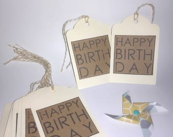 Each gift tag (set of 10) - Happy birthday - Kraft