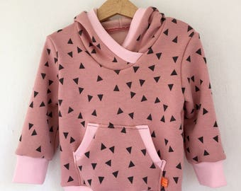 Hoodie hooded sweater toddler sweat of in fluffy pink grey triangles with bag