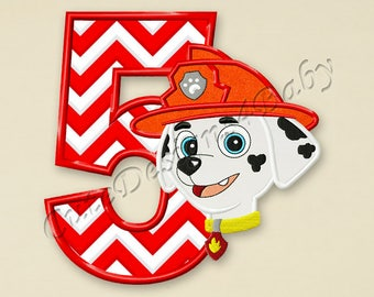 SALE! Paw Patrol Marshall Number 5 applique embroidery design, Paw Patrol Machine Embroidery Designs, designs baby, Instant download #057