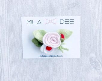 Strawberry Felt Flower on a Alligator Hair Clip• alligator clip • felt flower • little girl hair clip • baby hair clip • pink • red