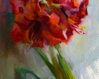 Amaryllis - original oil painting, alla prima oil painting, one of a kind