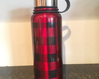 Personalized Red and Black Plaid  32  ounce  Stainless Steel Thermos Bottle.  Great to transport hot or cold liquids.