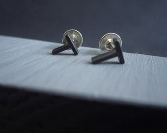 Oxidised Miniature T studs. Stock filler earrings made in recycled silver. Perfect geometric gift