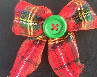 Christmas over the Collar Bow with a button center