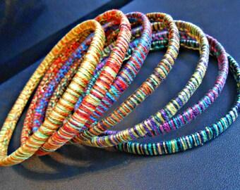 "Set of 7 ""Inspirations ethnic"" woven macrame Bracelets"