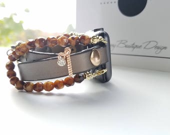 Apple Watch Band, Apple Watch Band 38mm, Apple Watch Band 42mm, Bronze leather Wrap & Light Amber Swirl Glass Stack Bracelet with Charm
