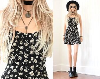 90s Floral Dress 90s Grunge Dasiy Dress Floral Mini Dress Rayon Dress 90s Dress Floral Dress Vintage 90s Clothing Black Floral Dress XS