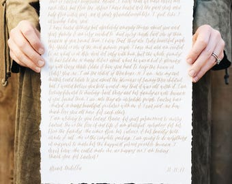 Wedding Vows // Traditional Vows on Handmade Paper // Custom Vows // Calligraphy Wedding Vows // Handlettered Vows