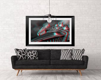 Starship, Carnival ride, Fun Print, County Fair, Pop Art, Retro, Carnival Photography, Red and Blue , 3D, roller coaster