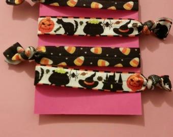Set of 4 Halloween elastic Hair ties