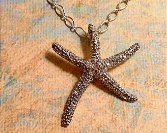 Silver Rhinestone Starfish  Necklace, Star Jewelry, Accessories, Boutique, Fashion Jewelry