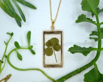 "Genuine 4 Leaf Clover Rectangle Necklace [AC 010] /Rose Gold Tone 18"" Necklace / White Clover Pendant/Triforium Repens/Good Luck Charm"
