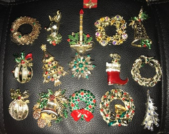 16 piece lot of vintage Christmas brooches Gerrys St. Labre signed