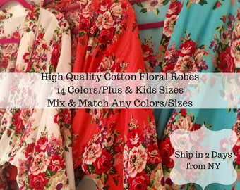 Bridesmaid Robes-Set of Bridesmaid Robes -Floral Bridesmaid Robes-Bridal Robe-Wedding Robes-Kimono Robe - Discount for Multi Order