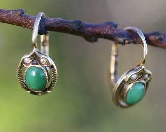 Antique 14 k Turquoise Seed Pearl Earrings  / Free Shipping Worldwide.