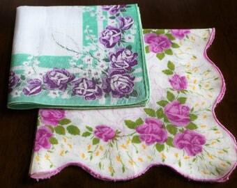 Two Vintage Handkerchiefs, Purple Roses, Purple and Green Hanky, Cotton Hankies, Pocket Square, Neck Scarf, Hair Tie, Vintage Hankies