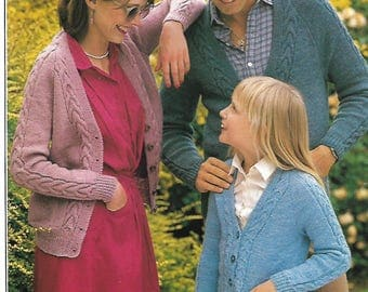 knitting pattern, men's, women's, girl's, boy's, cable knit cardigan, sizes 26 to 44 in, double knitting, pdf, instant download
