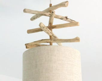 Chandelier Driftwood linen - lamp shade cylinder 28 cm - cylindrical pendant - round ceiling light