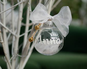 Cute Handmade Personalised Christmas bauble 7cm with silver bells Table place setting Christmas Decoration Shatterproof Glass-like bauble
