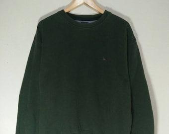 Rare !! TOMMY HILFIGER Small Logo Sweatshirt Crewneck Green Colour Medium Size #A3