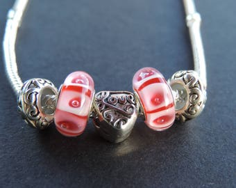 Pink heart beads Charms Necklace