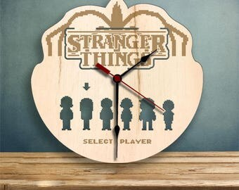 Stranger Things 2 clock, Wood Clock, Gifts for Her, Gifts for Him